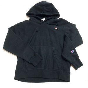 VTG Champion Black Reverse Weave Pullover Hoodie M